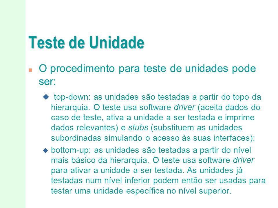Teste de Unidade O procedimento para teste de unidades pode ser: