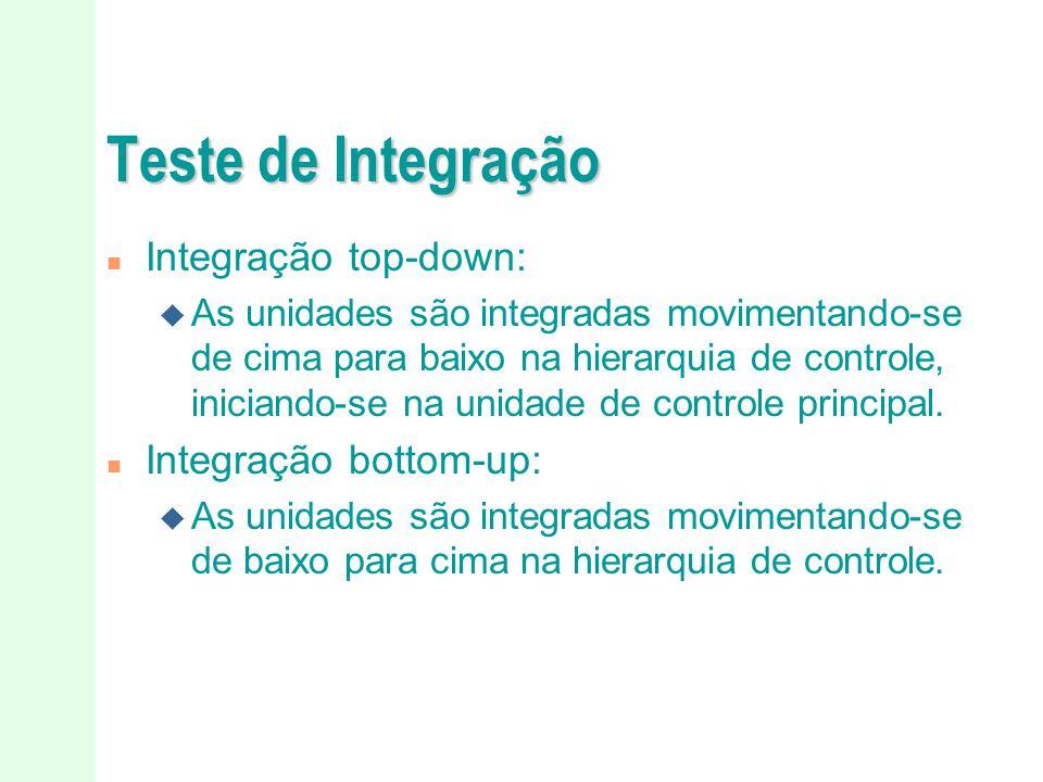 Teste de Integração Integração top-down: Integração bottom-up: