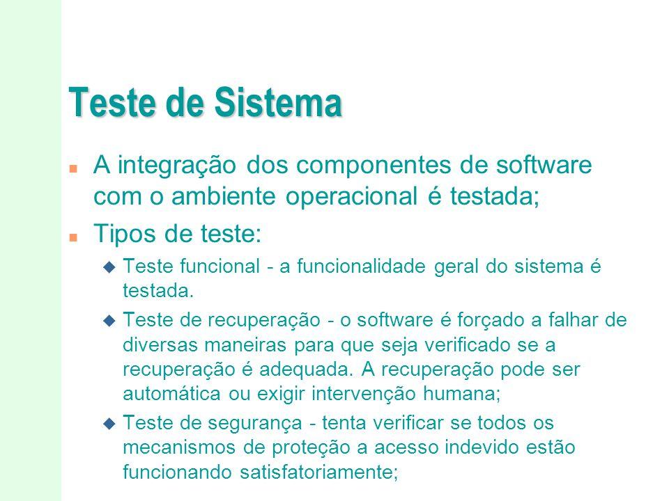 Teste de Sistema A integração dos componentes de software com o ambiente operacional é testada; Tipos de teste: