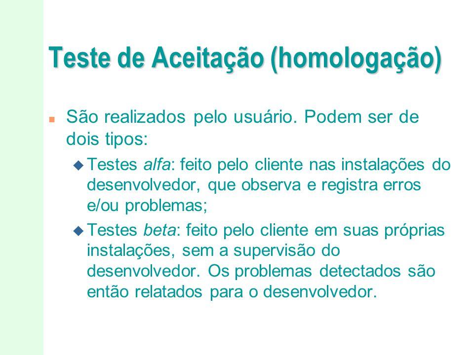 Teste de Aceitação (homologação)