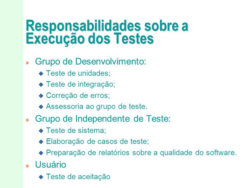 Responsabilidades sobre a Execução dos Testes
