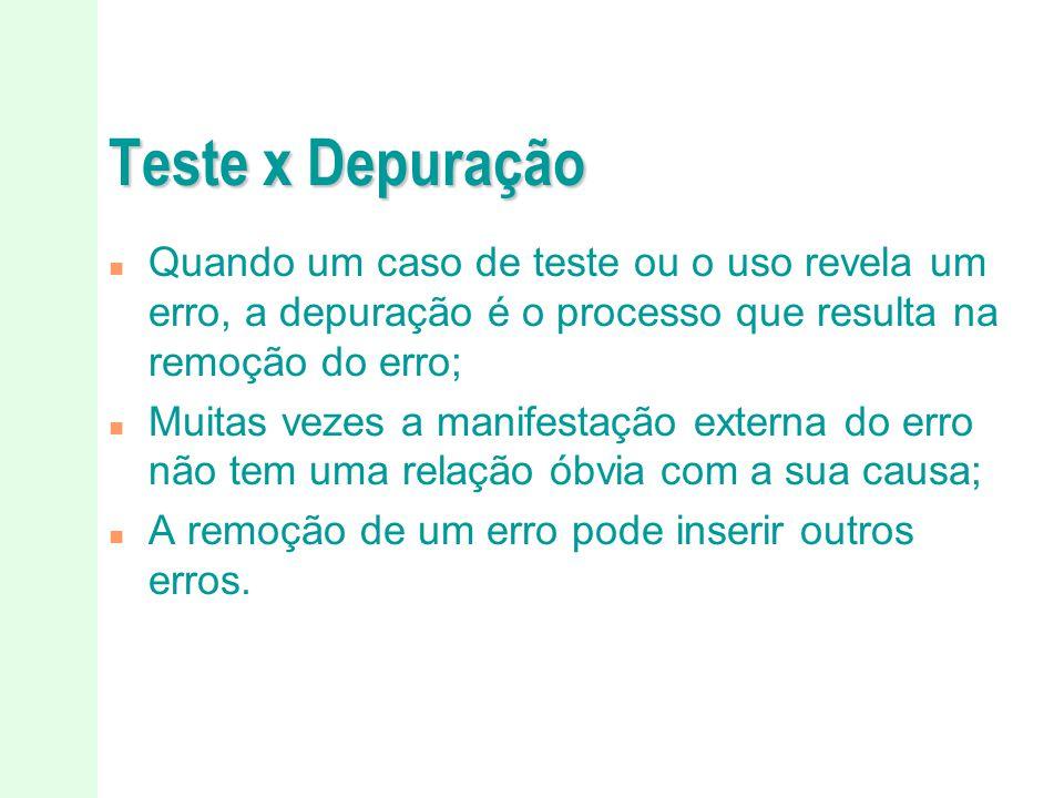 Teste x Depuração Quando um caso de teste ou o uso revela um erro, a depuração é o processo que resulta na remoção do erro;