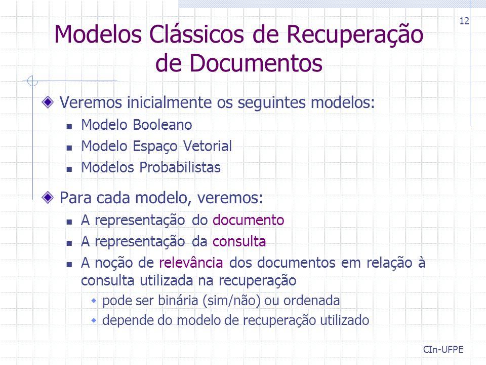 Modelos Clássicos de Recuperação de Documentos