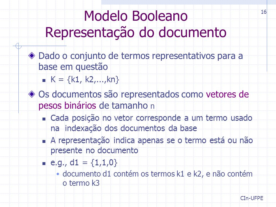 Modelo Booleano Representação do documento