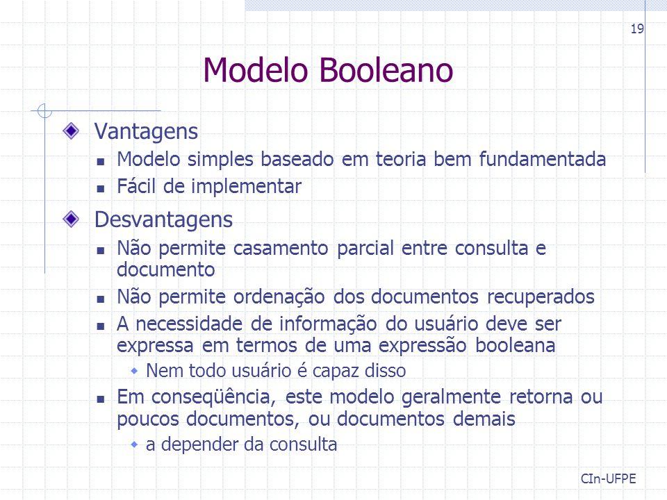 Modelo Booleano Vantagens Desvantagens