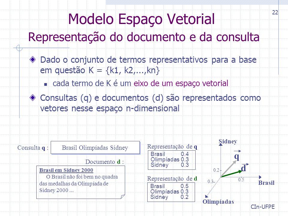 Modelo Espaço Vetorial Representação do documento e da consulta