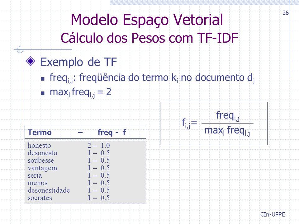 Modelo Espaço Vetorial Cálculo dos Pesos com TF-IDF