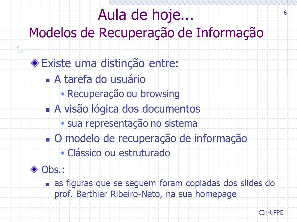 Aula de hoje... Modelos de Recuperação de Informação