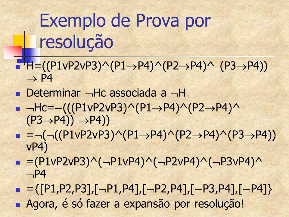 Exemplo de Prova por resolução