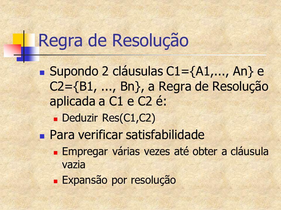 Regra de Resolução Supondo 2 cláusulas C1={A1,..., An} e C2={B1, ..., Bn}, a Regra de Resolução aplicada a C1 e C2 é: