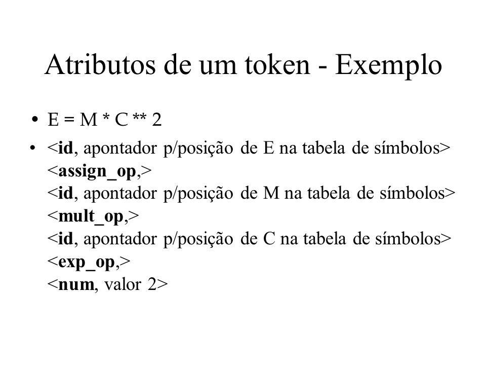 Atributos de um token - Exemplo