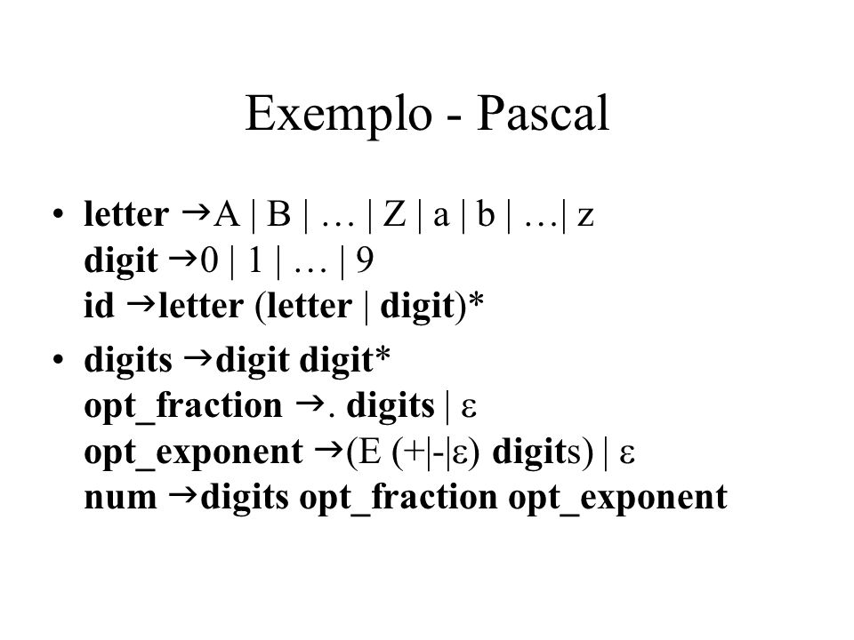 Exemplo - Pascal letter gA | B | … | Z | a | b | …| z digit g0 | 1 | … | 9 id gletter (letter | digit)*