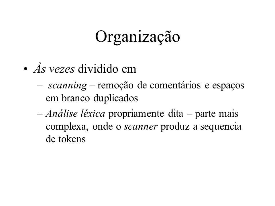Organização Às vezes dividido em