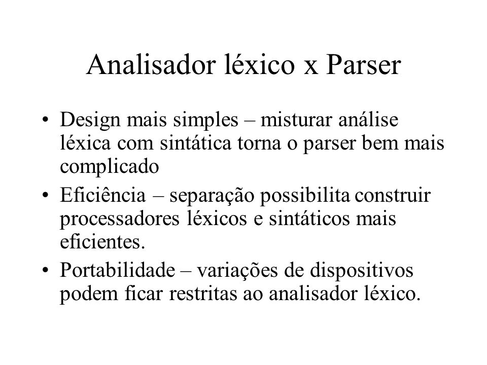 Analisador léxico x Parser