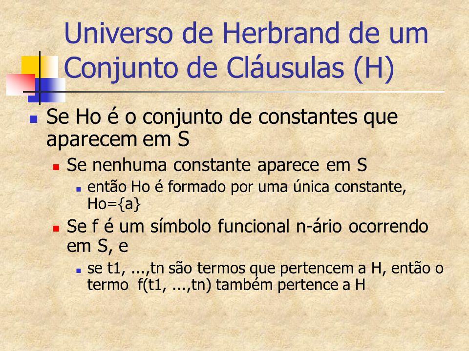 Universo de Herbrand de um Conjunto de Cláusulas (H)