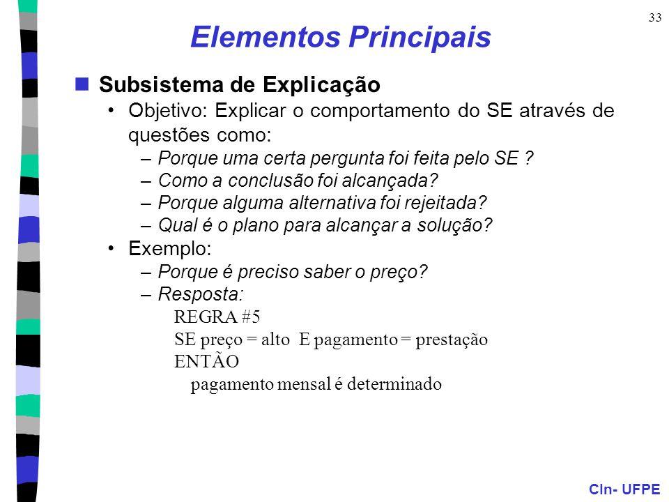 Elementos Principais Subsistema de Explicação