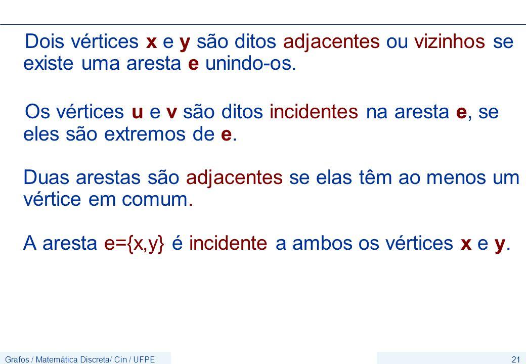 Dois vértices x e y são ditos adjacentes ou vizinhos se existe uma aresta e unindo-os.