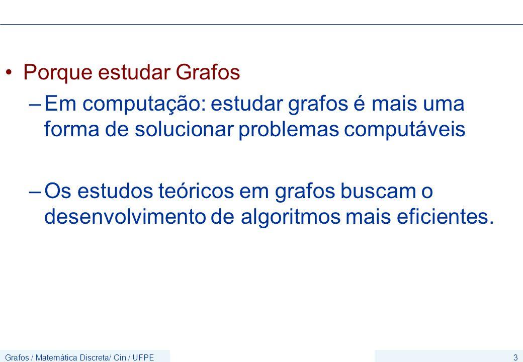 Porque estudar Grafos Em computação: estudar grafos é mais uma forma de solucionar problemas computáveis.