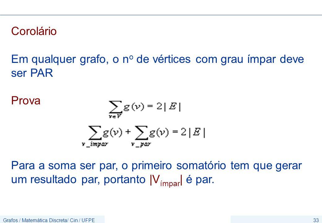 Em qualquer grafo, o no de vértices com grau ímpar deve ser PAR