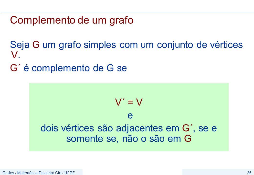dois vértices são adjacentes em G´, se e somente se, não o são em G
