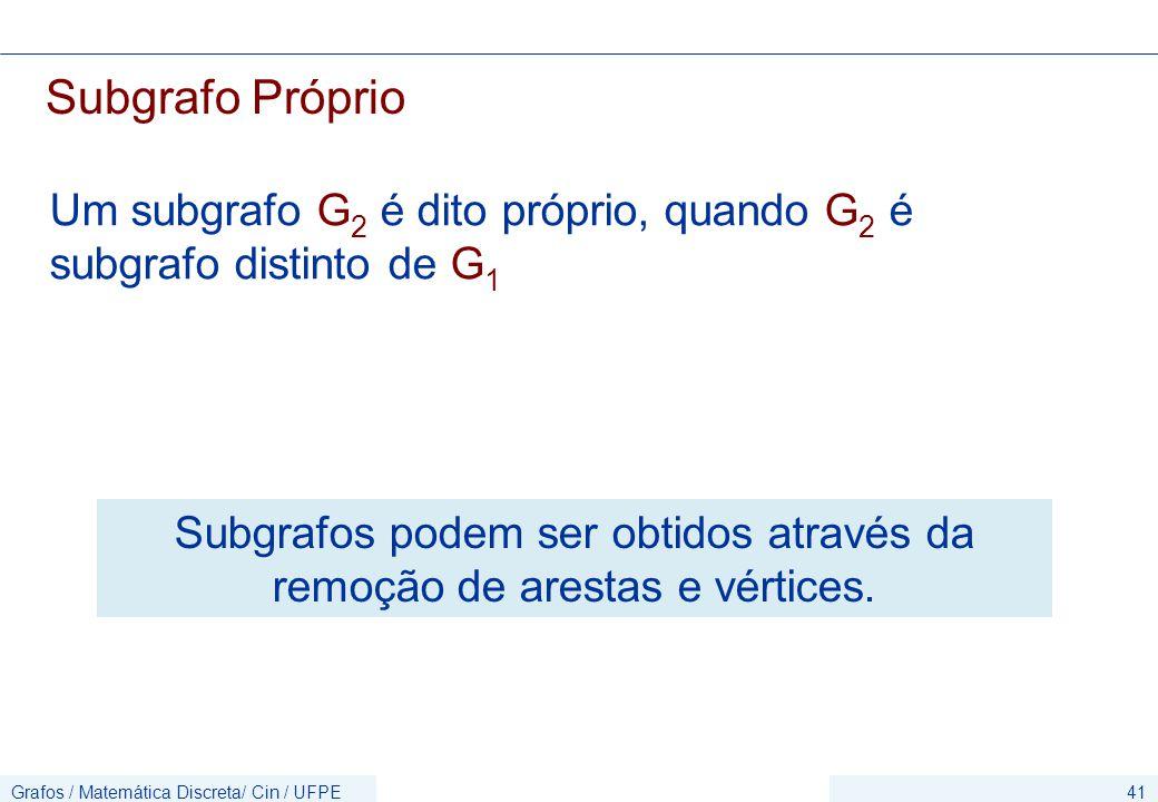 Subgrafos podem ser obtidos através da remoção de arestas e vértices.