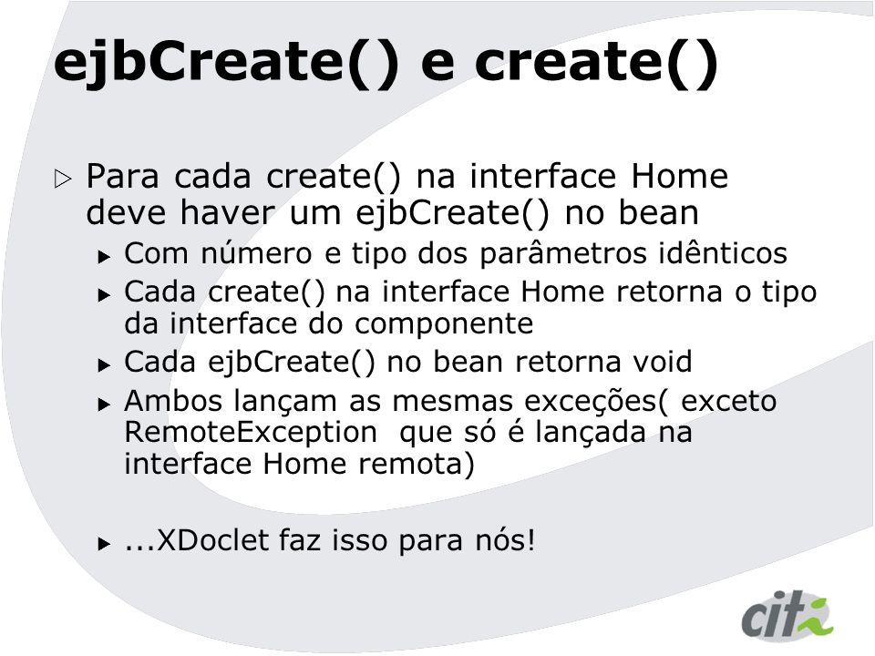 ejbCreate() e create()