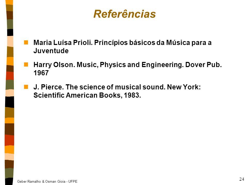 Referências Maria Luísa Prioli. Princípios básicos da Música para a Juventude. Harry Olson. Music, Physics and Engineering. Dover Pub. 1967.