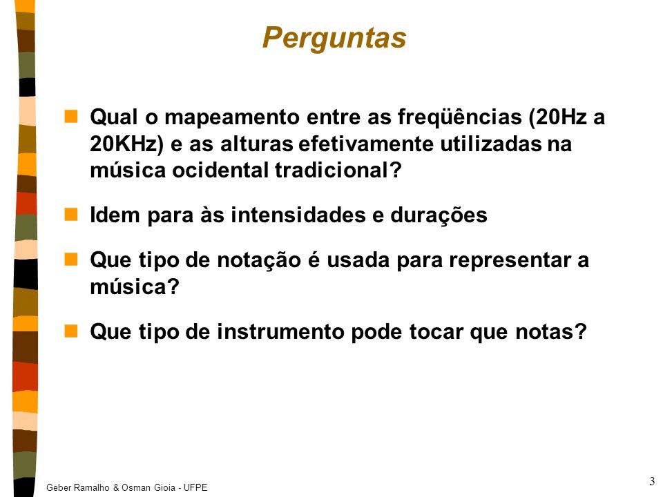 Perguntas Qual o mapeamento entre as freqüências (20Hz a 20KHz) e as alturas efetivamente utilizadas na música ocidental tradicional