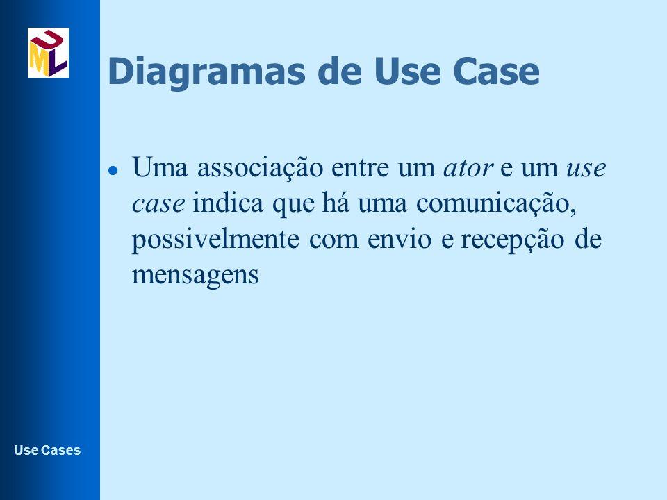 Diagramas de Use Case Uma associação entre um ator e um use case indica que há uma comunicação, possivelmente com envio e recepção de mensagens.