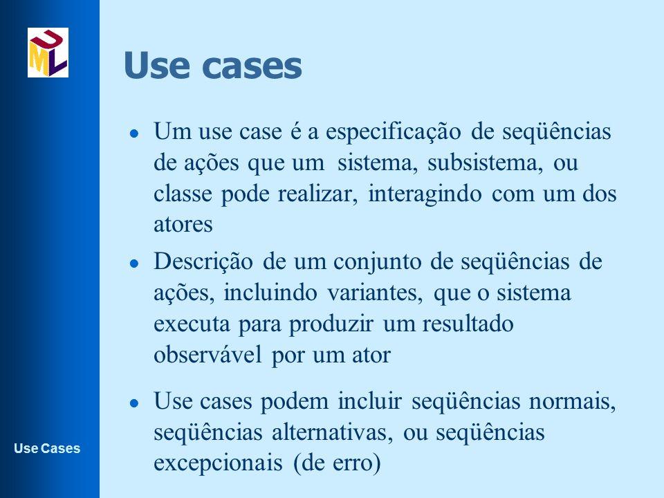 Use cases Um use case é a especificação de seqüências de ações que um sistema, subsistema, ou classe pode realizar, interagindo com um dos atores.