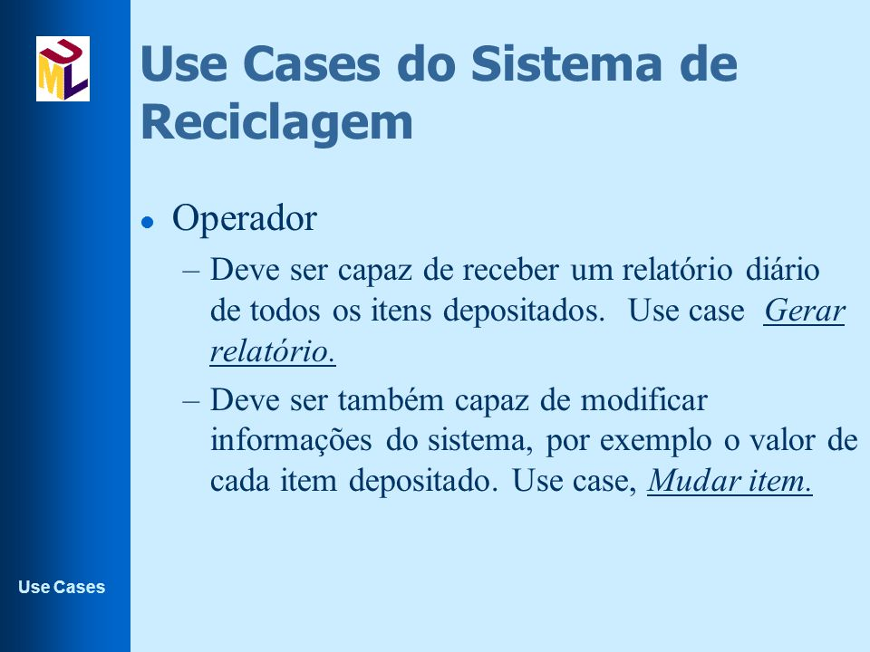 Use Cases do Sistema de Reciclagem
