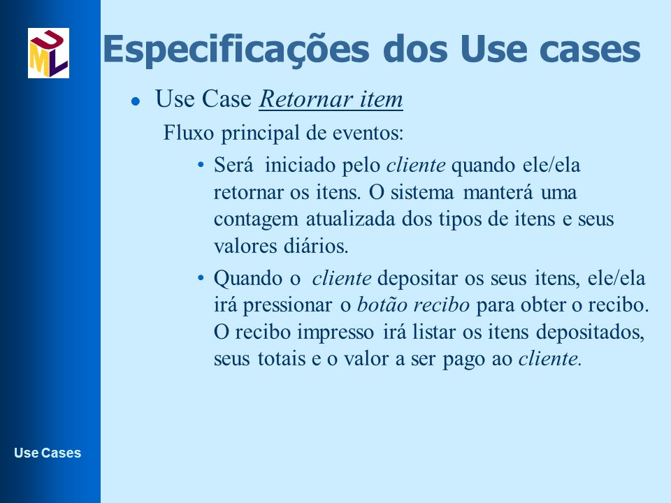 Especificações dos Use cases