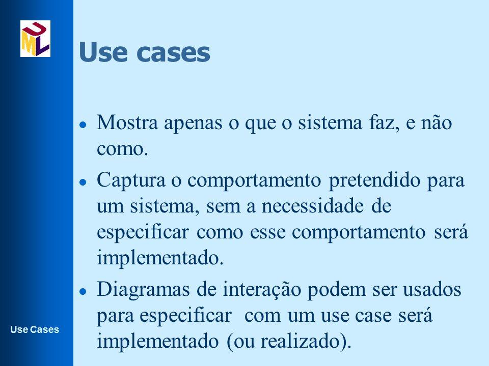 Use cases Mostra apenas o que o sistema faz, e não como.