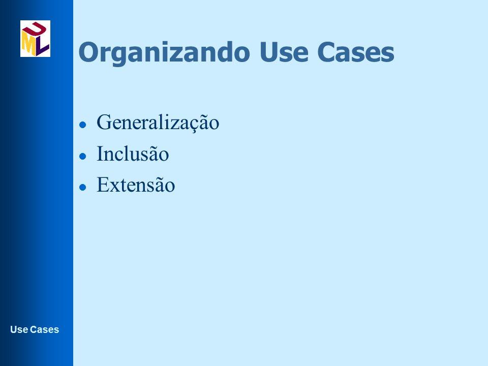 Organizando Use Cases Generalização Inclusão Extensão