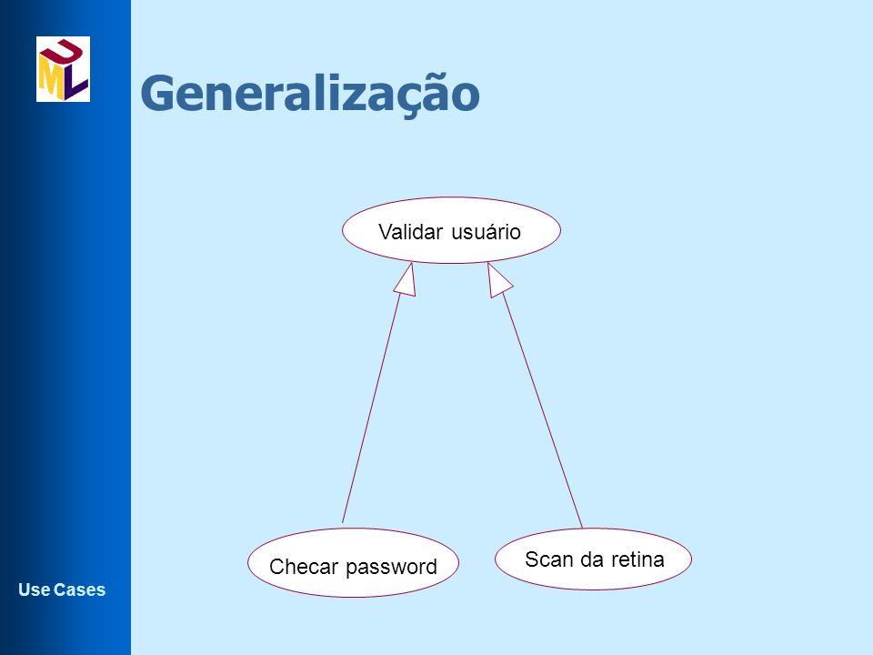 Generalização Validar usuário Scan da retina Checar password