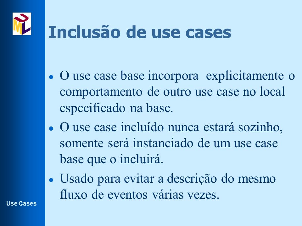 Inclusão de use cases O use case base incorpora explicitamente o comportamento de outro use case no local especificado na base.