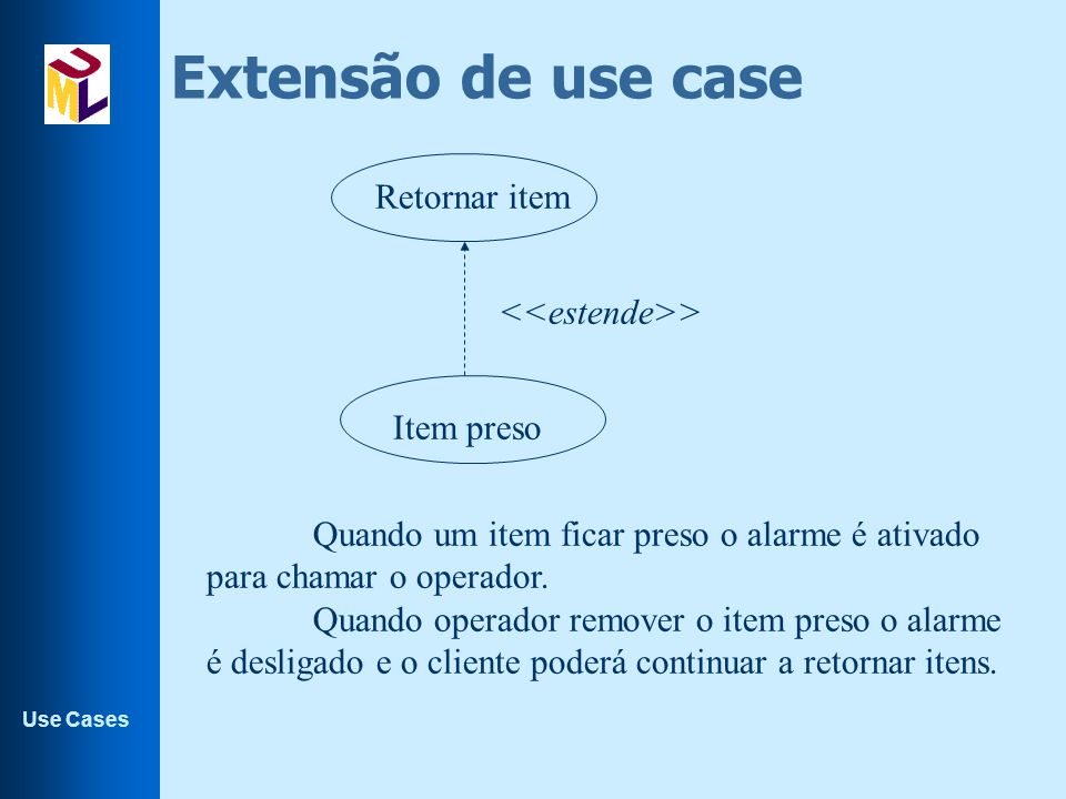 Extensão de use case Retornar item <<estende>> Item preso
