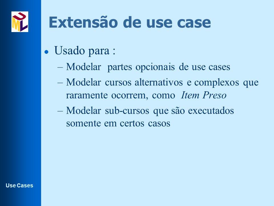 Extensão de use case Usado para :