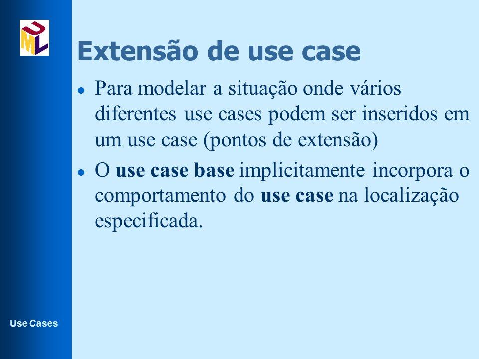 Extensão de use case Para modelar a situação onde vários diferentes use cases podem ser inseridos em um use case (pontos de extensão)