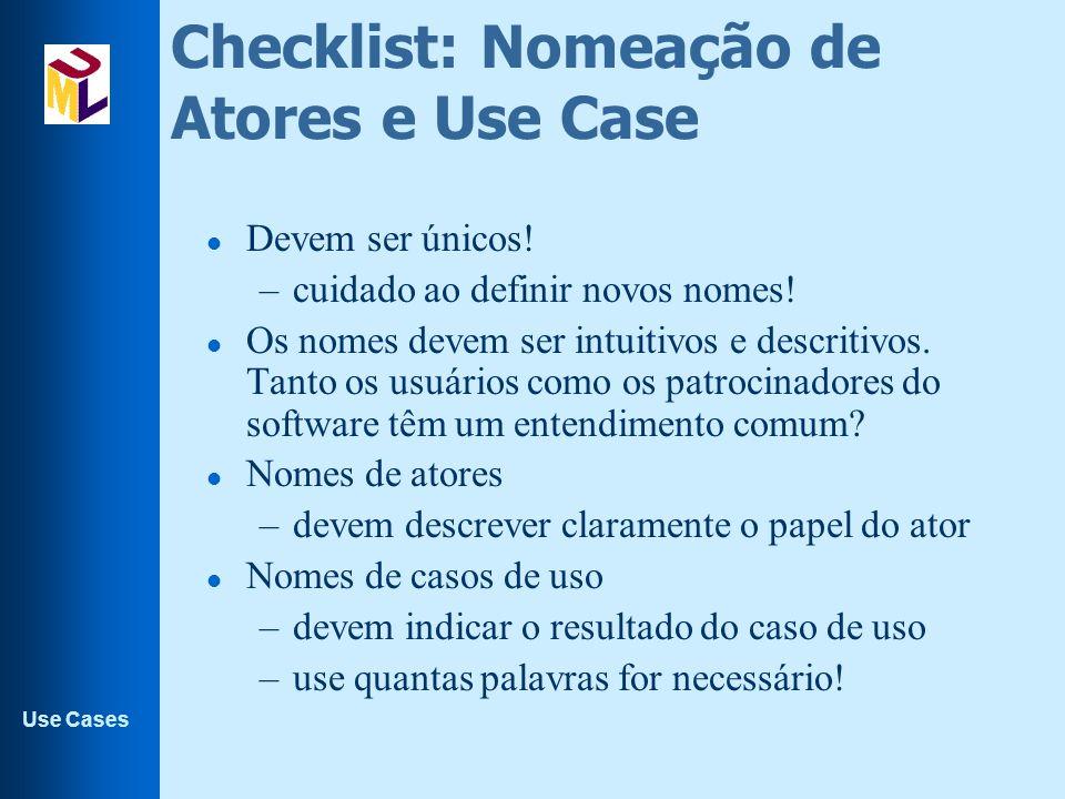Checklist: Nomeação de Atores e Use Case