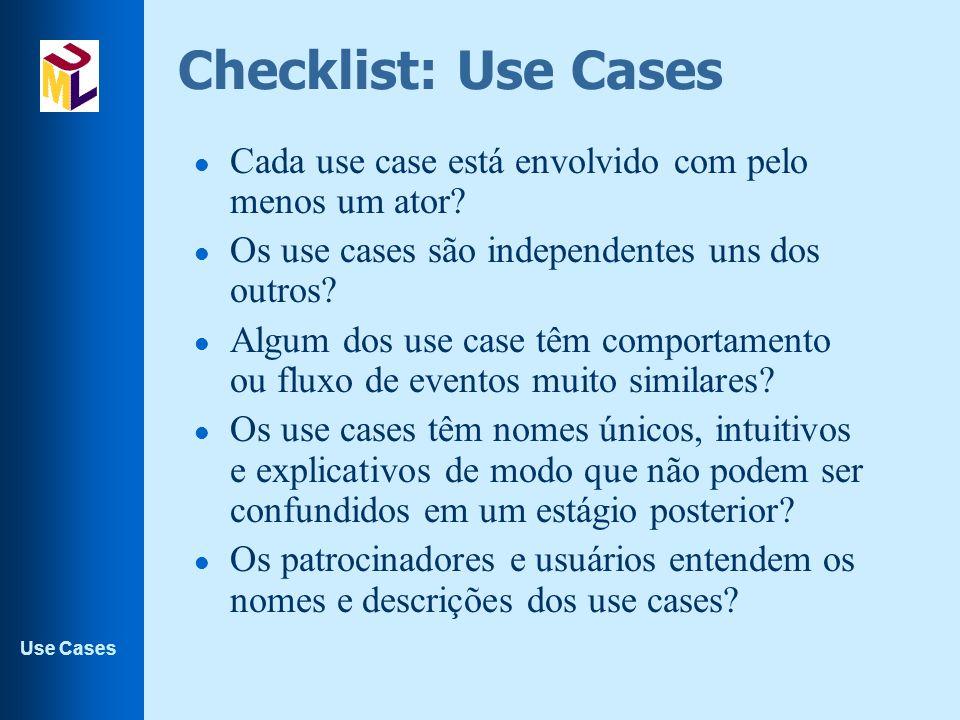 Checklist: Use Cases Cada use case está envolvido com pelo menos um ator Os use cases são independentes uns dos outros