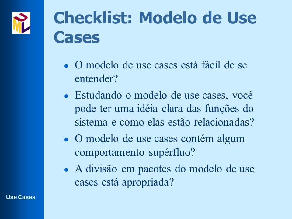 Checklist: Modelo de Use Cases
