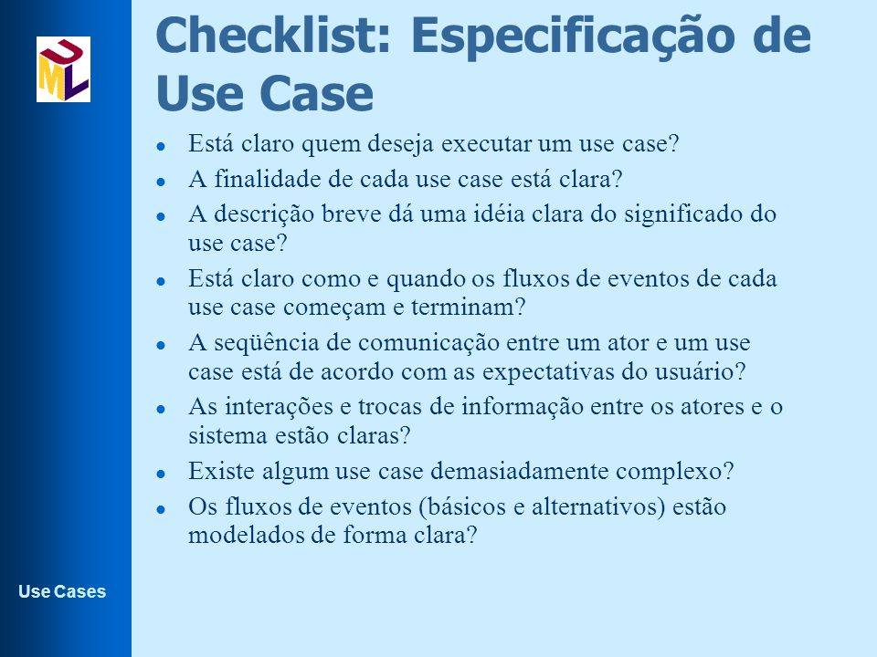 Checklist: Especificação de Use Case