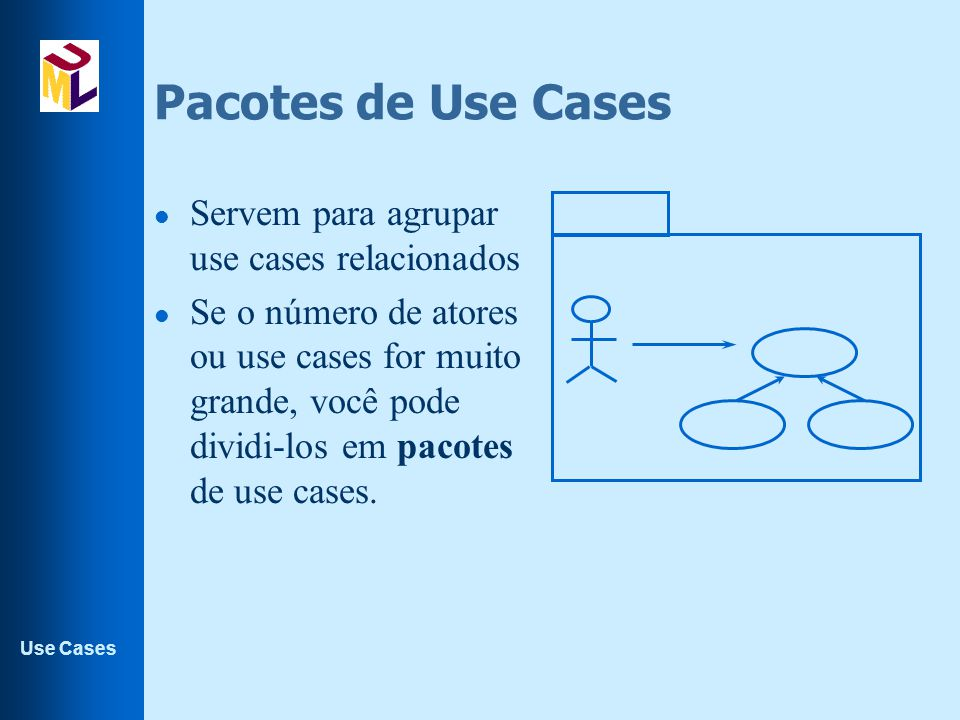Pacotes de Use Cases Servem para agrupar use cases relacionados