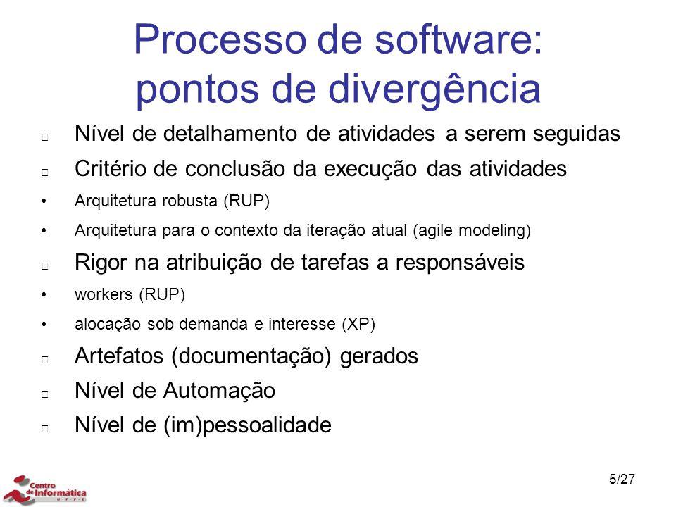 Processo de software: pontos de divergência