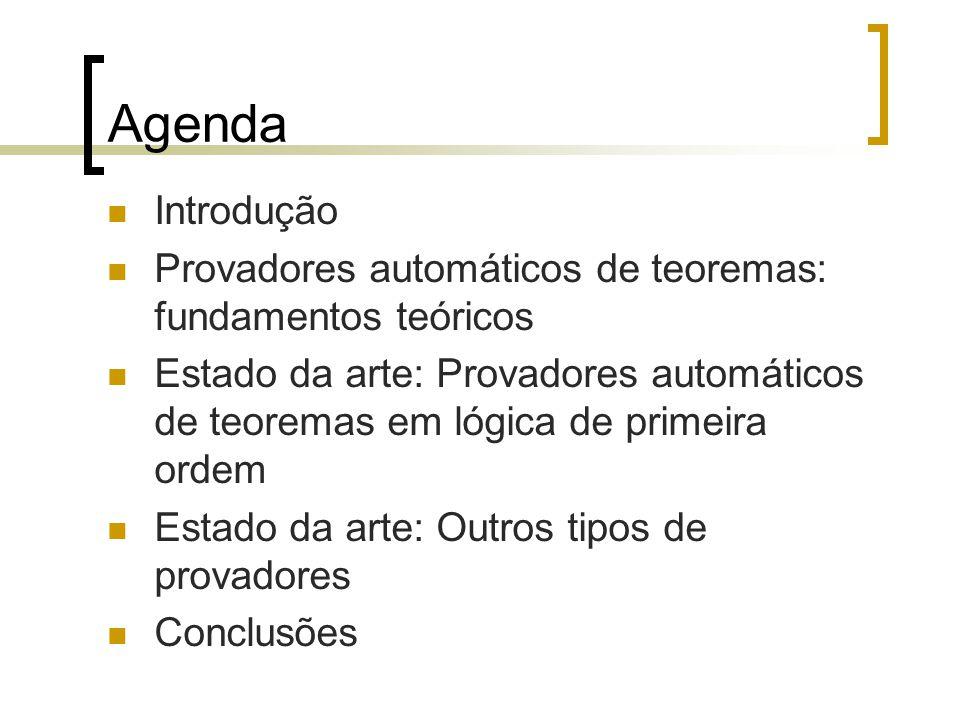 Agenda Introdução. Provadores automáticos de teoremas: fundamentos teóricos.
