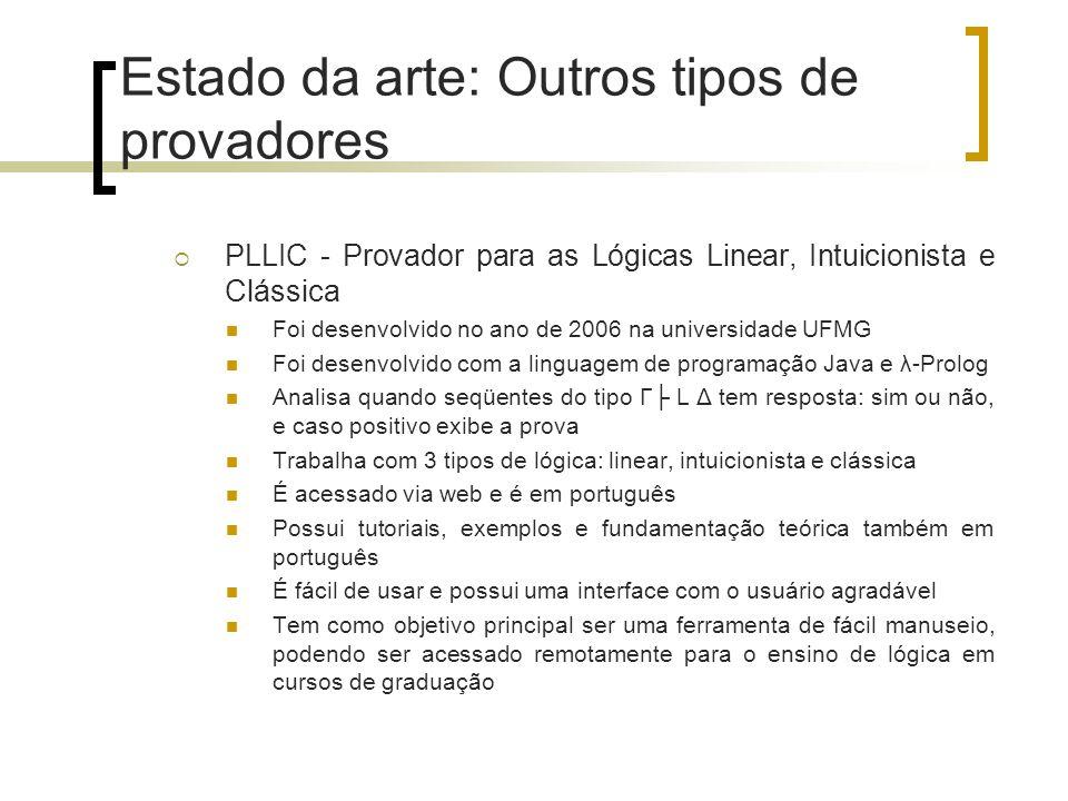 Estado da arte: Outros tipos de provadores