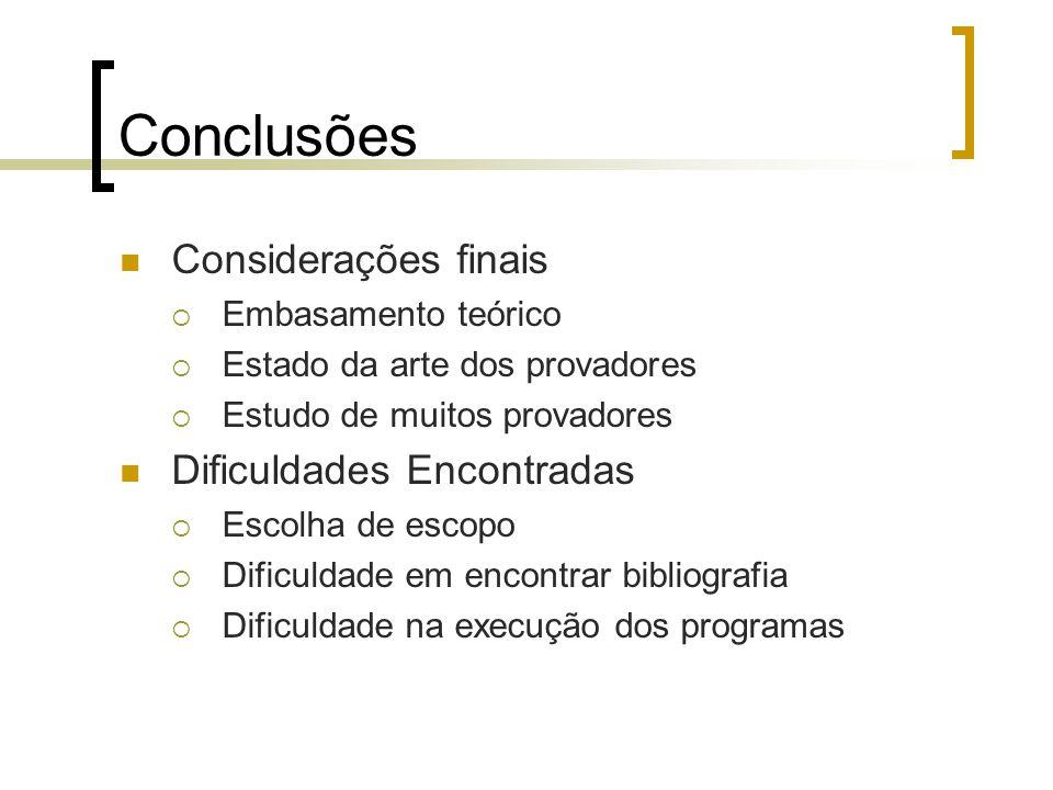 Conclusões Considerações finais Dificuldades Encontradas