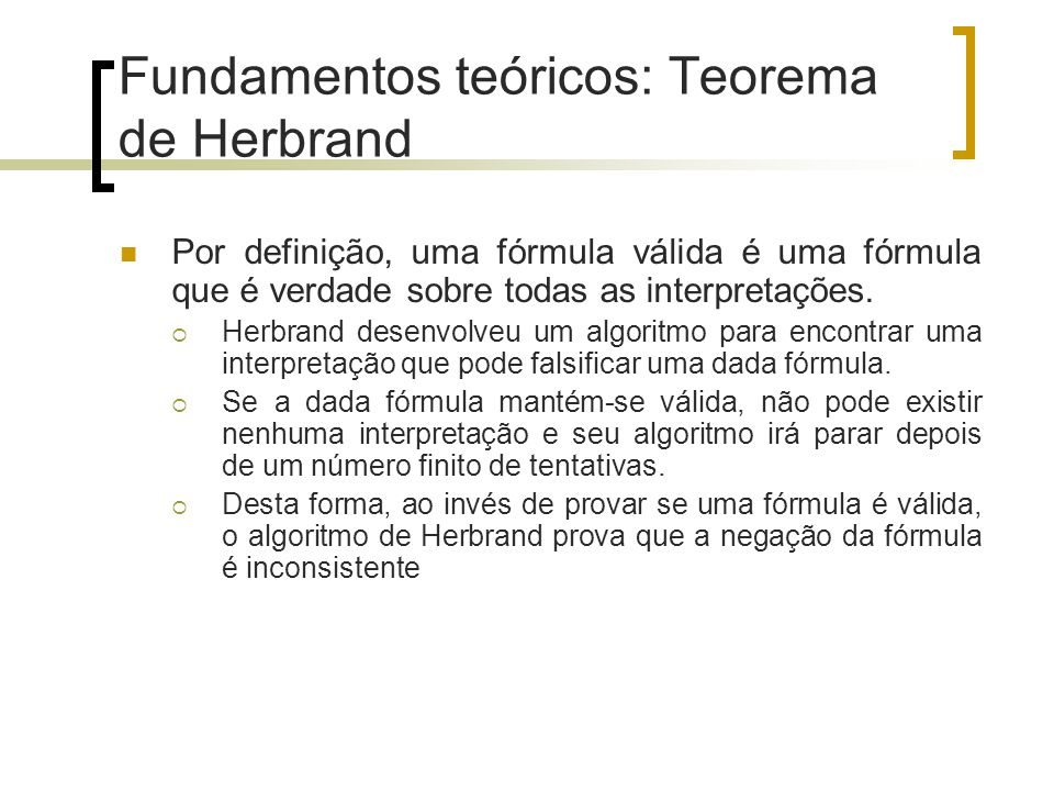 Fundamentos teóricos: Teorema de Herbrand