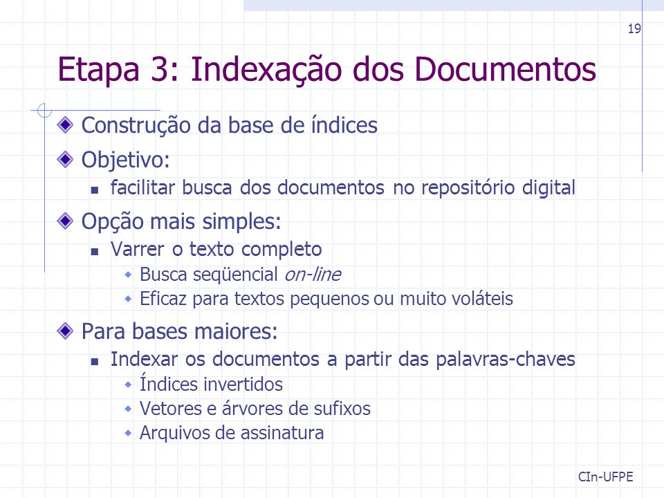Etapa 3: Indexação dos Documentos